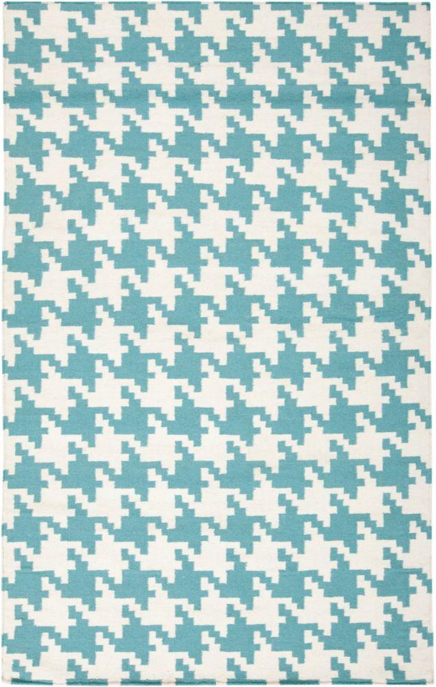 Tapis Preta sarcelle tissée à plat en laine 8 Pi. x 11 Pi.