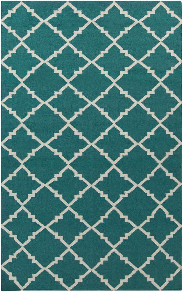 Tapis Campina turquoise foncé tissée à plat en laine 8 Pi. x 11 Pi.