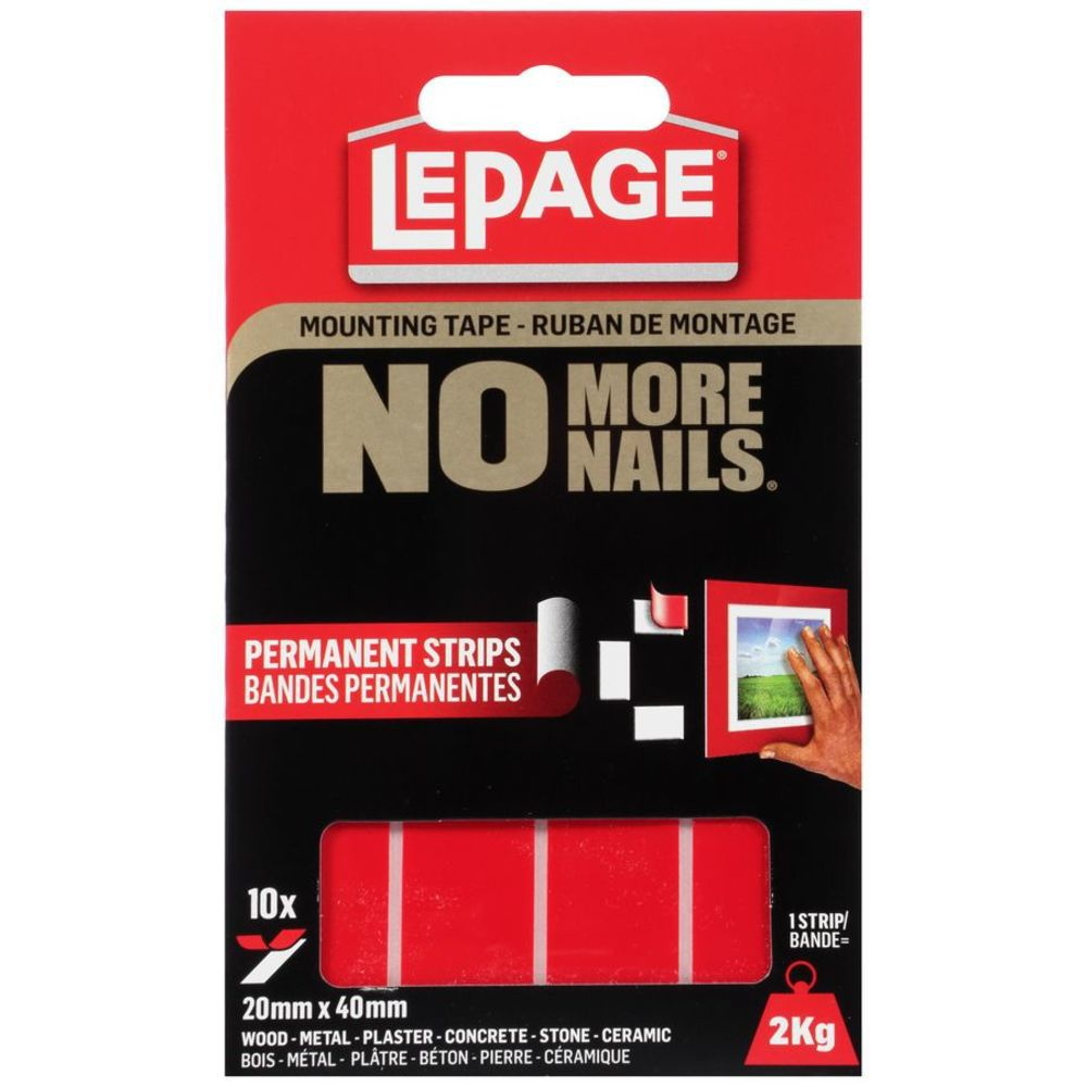 No More Nails Mounting Tape Permanent Strips