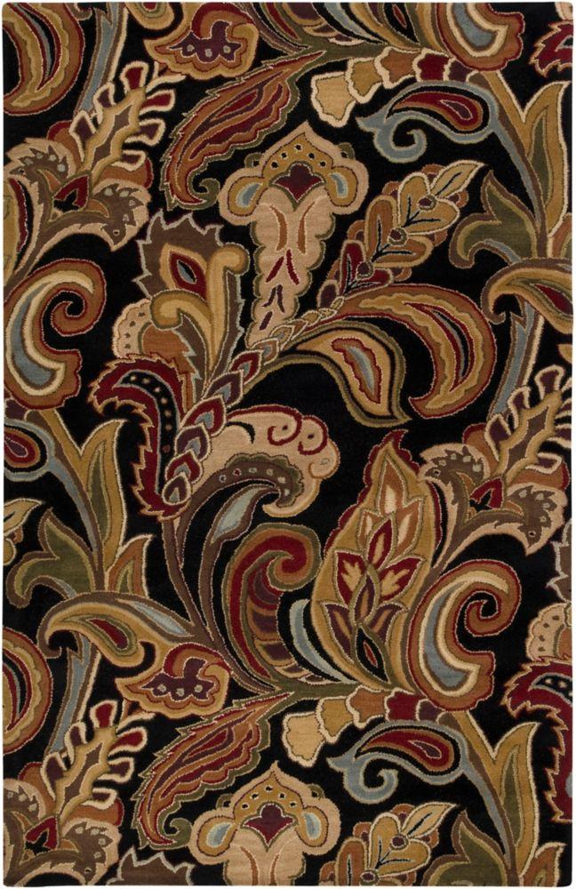 Tapis Carpette Culenar noire en laine - 8 Po. x 11 Po.