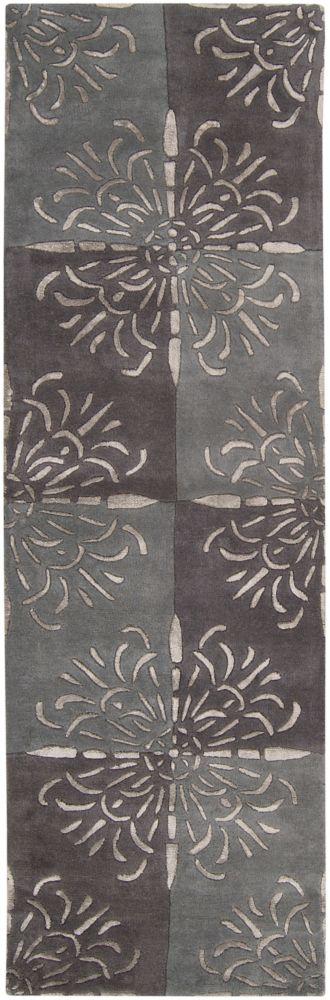 Catacamas Gray New Zealand Wool / Viscose Runner - 2 Ft. 6 In. x 8 Ft. Area Rug