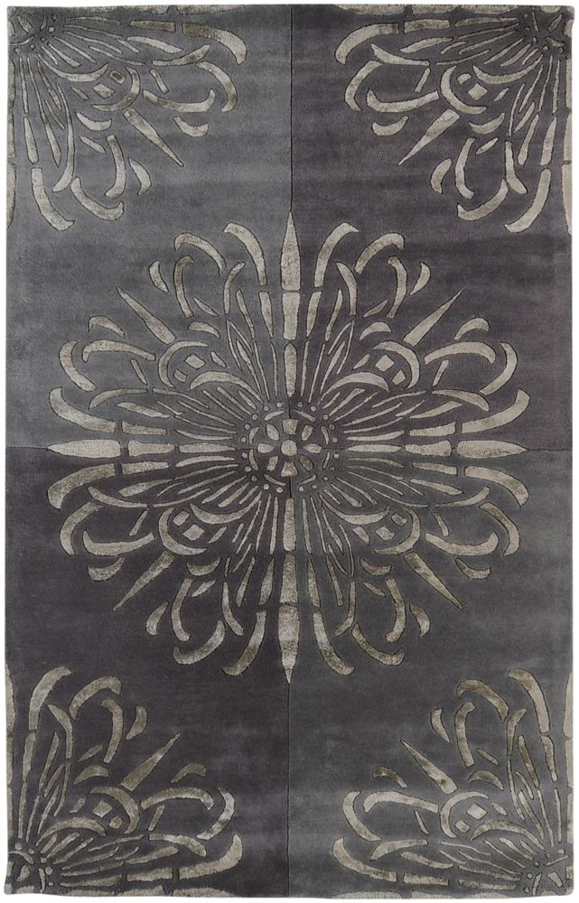 Tapis Carpette Catacamas grise en laine de Nouvelle-Zélande et viscose - 5 Po. x 8 Po.
