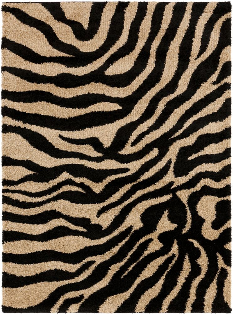 Lima Jet Black Polypropylene Shag 7 Ft. 10 In. x 9 Ft. 10 In. Area Rugs Lima-D Canada Discount
