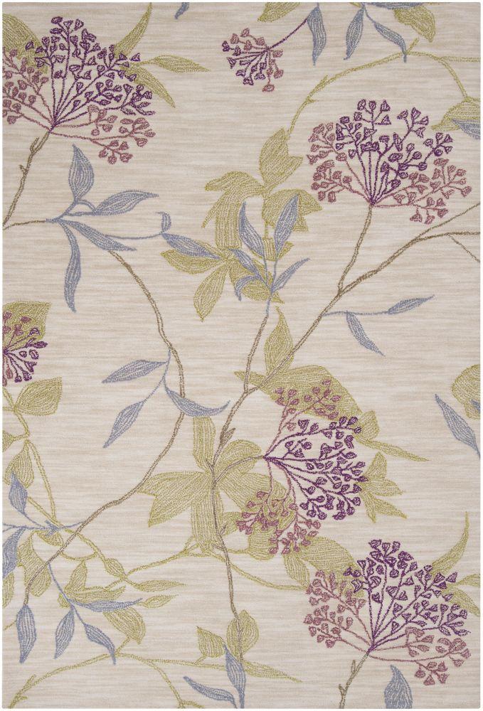 Tapis Carpette Tarapoto ivoire en polyester - 5 Po. x 7 Po. 6 Pi.