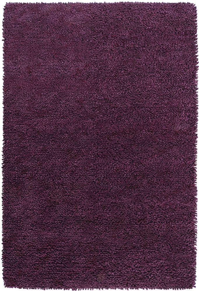 Tapis Pisco pourpre à poils longs en laine feutrée de Nouvelle-Zélande 5 Pi. x 8 Pi.