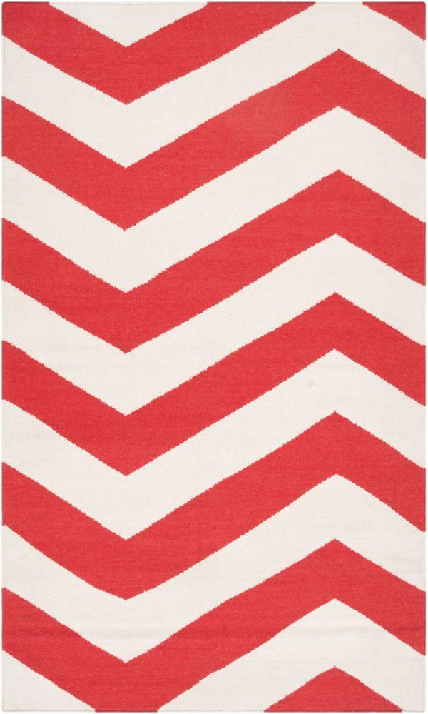 Tapis Franca rouge-orange tissé à plat en laine 2 Pi. x 3 Pi.