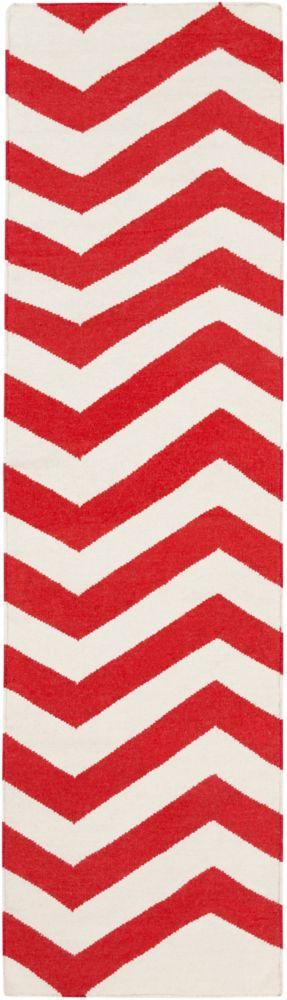 Tapis Passage Franca rouge-orange tissé à plat en laine 2 Pi. 6 Po. x 8 Pi.