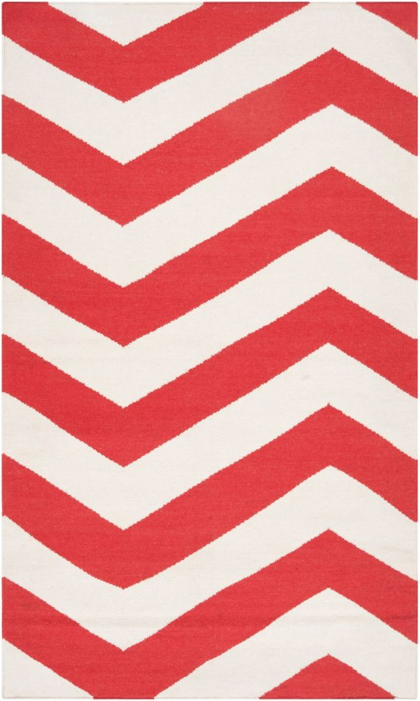 Tapis Franca rouge-orange tissée à plat en laine 5 Pi. x 8 Pi.