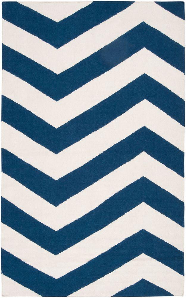 Vicena Dark Blue Wool Flatweave 2 Feet x 3 Feet Accent Rug