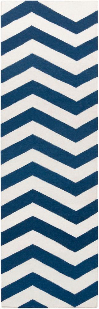 Vicena Dark Blue Wool Flatweave 2 Feet 6 Inch x 8 Feet Runner
