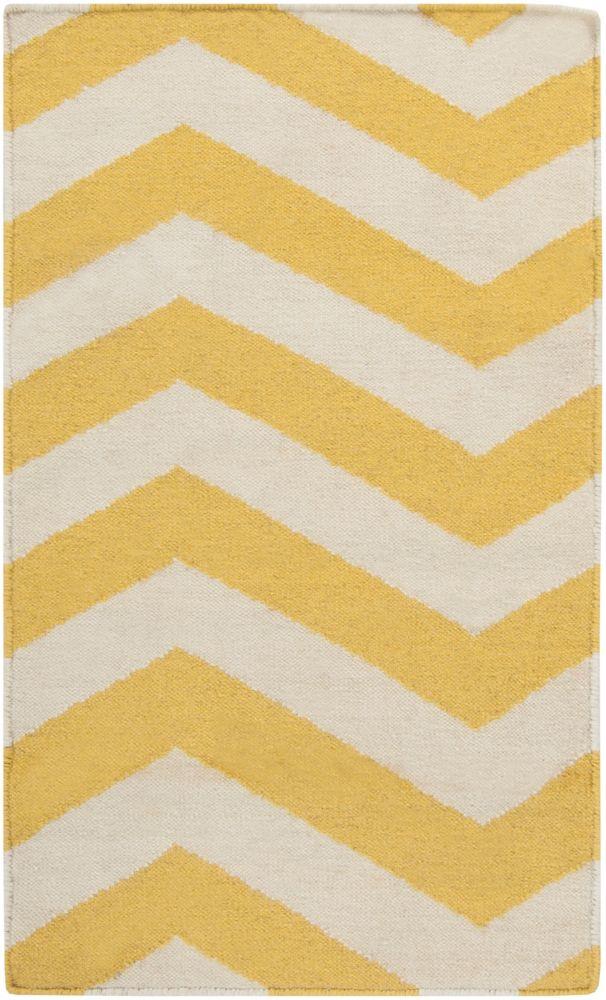 Uberaba Sunshine Yellow Wool Flatweave 2 Feet x 3 Feet Accent Rug