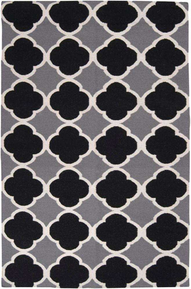 Tapis Cascaval grise tissée à plat en laine 8 Pi. x 11 Pi.