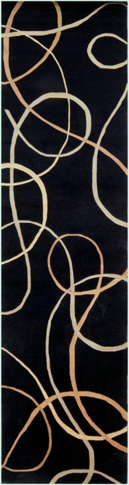 Parambuco Black Semi-Worsted New Zealand Wool 2 Feet 6 Inch x 10 Feet Runner