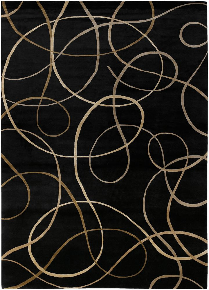 Parambuco Black Semi-Worsted New Zealand Wool 8 Feet x 11 Feet Area Rug
