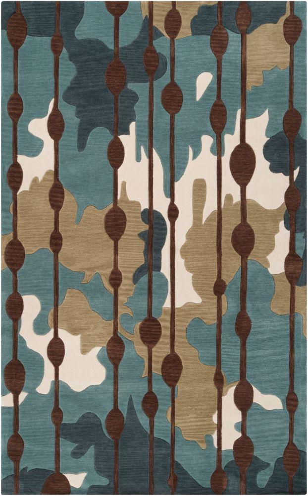 Carpette Clarines bleu ardoise en polyester 5 Pi. x 7 Pi