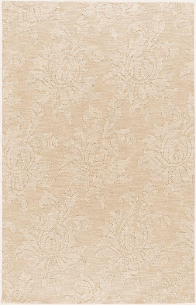 Tapis Carpette Parigua ivoire en laine - 8 Po. x 11 Po.