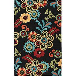 Artistic Weavers Tapis de passage d'intérieur/extérieur, 5 pi x 7 pi 6 po, style transitionnel, rectangulaire, noir Oviedo
