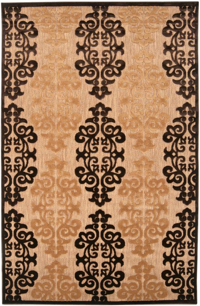 Tapis Carpette Chiavo naturelle en oléfine pour intérieur/extérieur - 7 Po. 10 Pi. x 10 Po. 8 Pi.