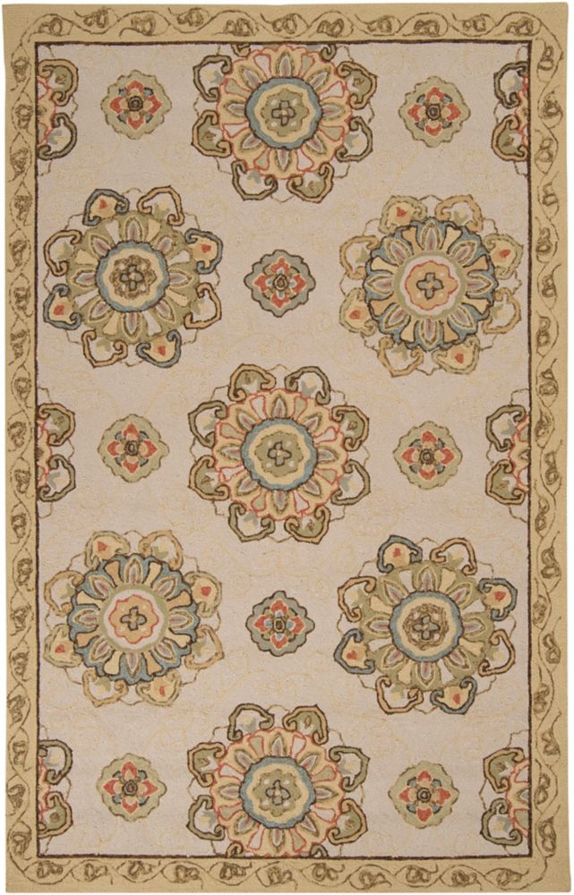 Sucre Ivory Polypropylene Indoor/Outdoor  - 8 Ft. x 10 Ft. Area Rug