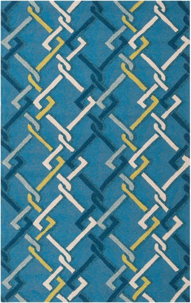 Tapis Baxta bleu paon en polypropylène pour intérieur/extérieur - 2 Po. x 3 Po.