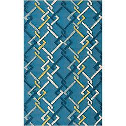 Artistic Weavers Tapis de passage d'intérieur/extérieur, 8 pi x 10 pi, style transitionnel, rectangulaire, bleu Baxta