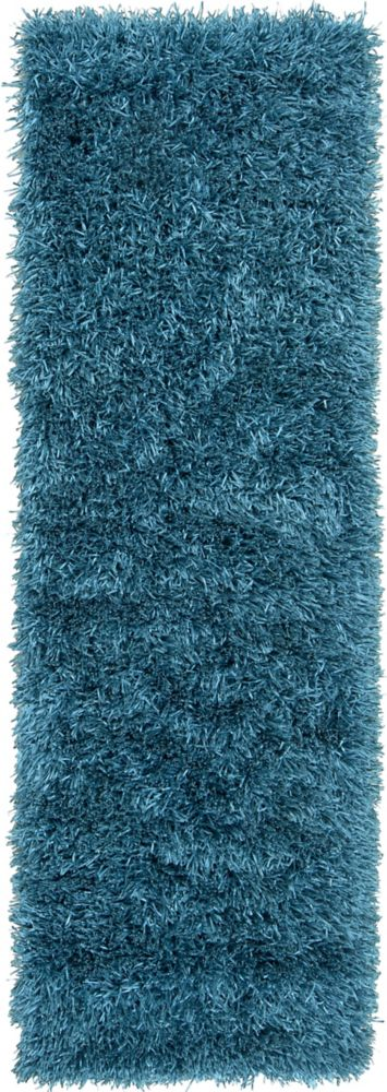 Tapis de passage Gualla bleu sarcelle à poils longs en polyester 2 Pi. 6 Po. x 8 Pi.