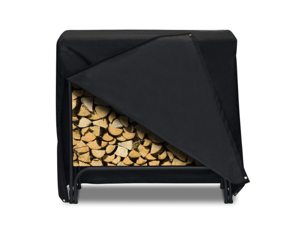 Log Rack Cover, Black - 48 Inches