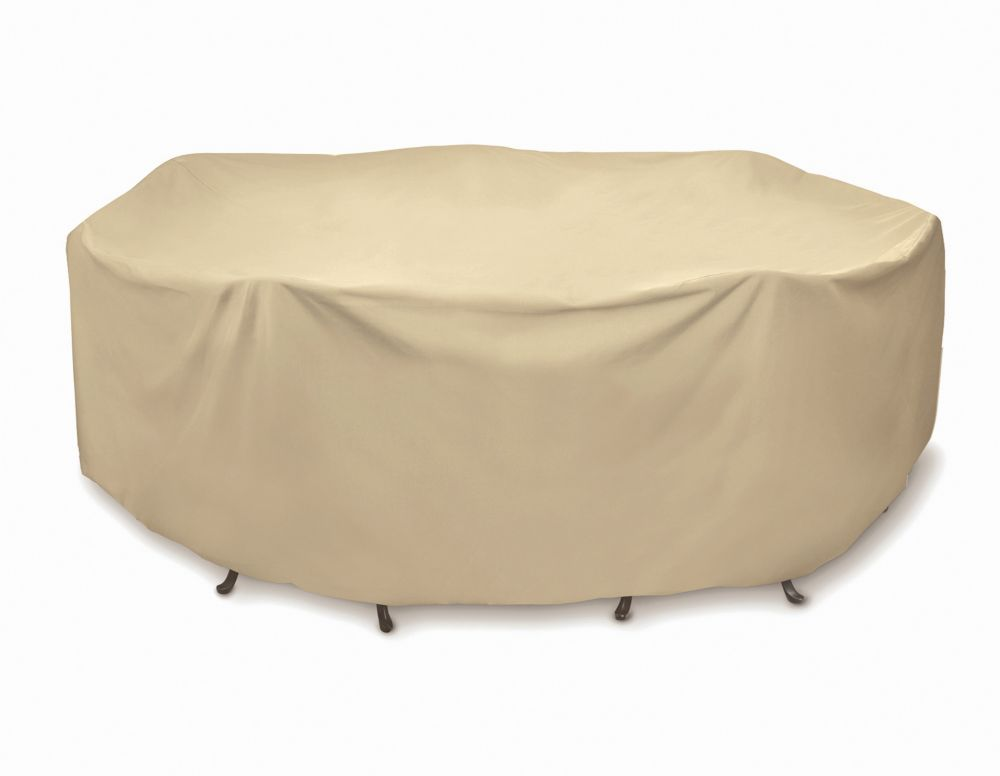Two Dogs Designs 92-inch Oval / Rectangular Outdoor Table or Chat Set Cover in Khaki