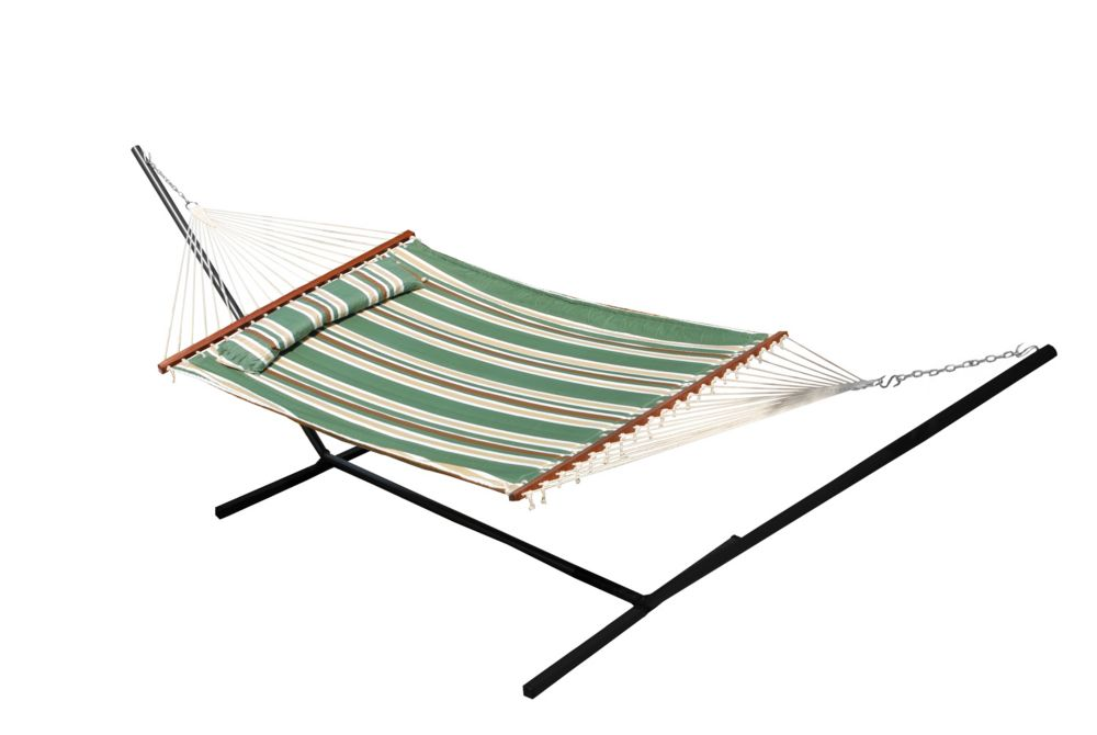 Nantucket 156 Inch. Quilted Cotton Reversible Double Hammock with Matching Pillow in Elm Green St...