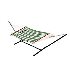 Nantucket 13 ft. Quilted Cotton Reversible Double Hammock with Matching Pillow in Elm Green