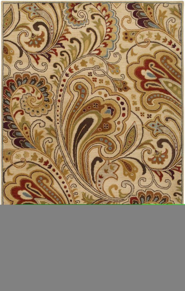 Tapis Linares ivoire en laine - 2 Po. x 3 Po.