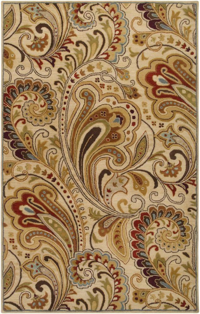 Tapis Carpette Linares ivoire en laine - 8 Po. x 11 Po.