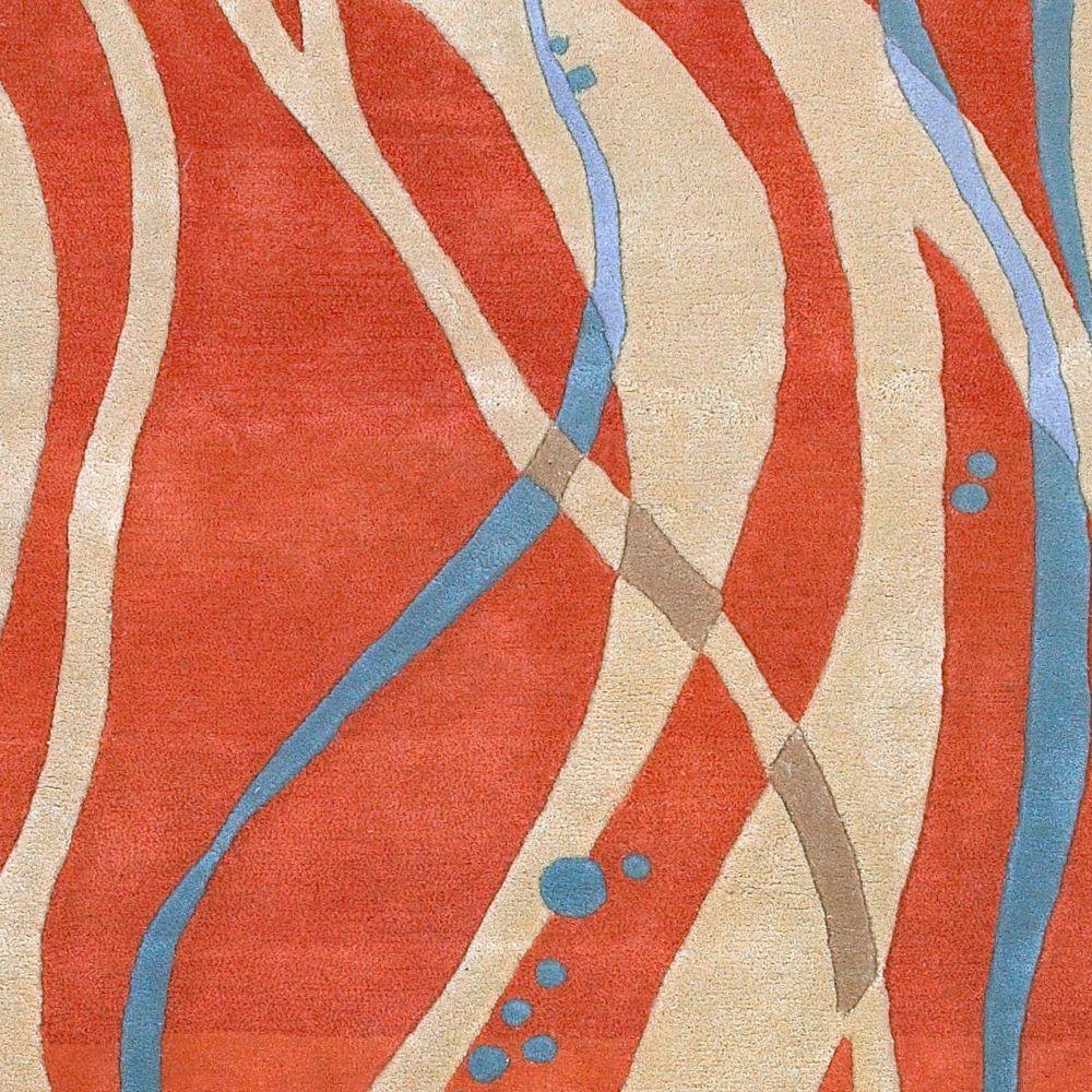 Apoteri Tangerine New Zealand Wool 2 Feet 6 Inch x 8 Feet Runner