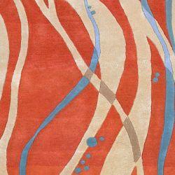 Artistic Weavers Carpette d'intérieur, 8 pi x 11 pi, style transitionnel, rectangulaire, orange Apoteri