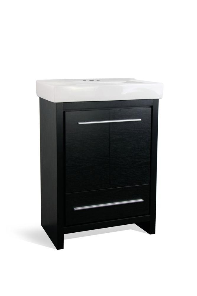GLACIER BAY Romali 24-inch W 1-Drawer 2-Door Freestanding Vanity in Black With Ceramic Top in White