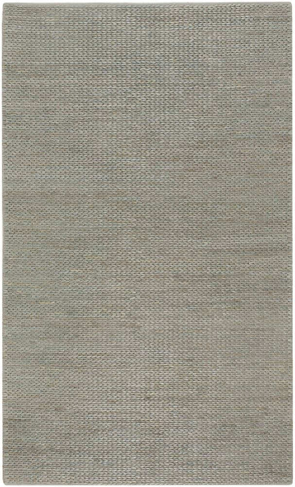 Tapis Carpette Tumatia gris bleu en jute - 5 Po. x 8 Po.