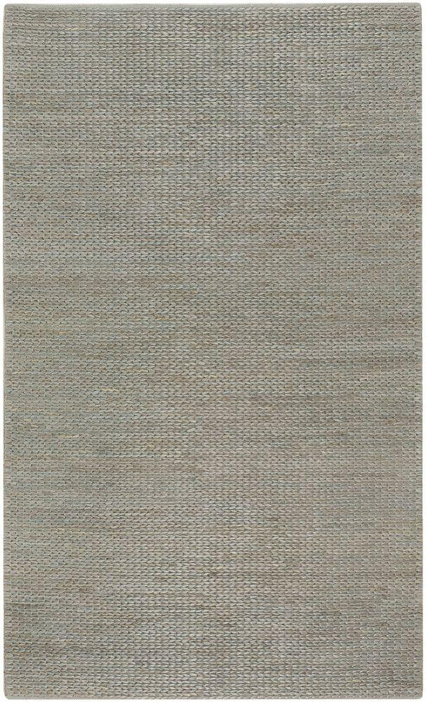 Tapis Carpette Tumatia gris bleu en jute - 8 Po. x 11 Po.