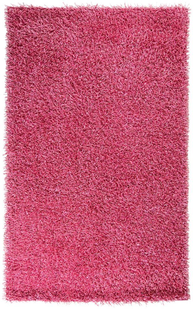 Tapis Kewegi rose à poils longs en polyester 1 Pi. 9 Pi. x 2 Pi. 10 Po.