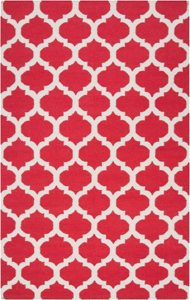 Saffre Red Wool 2 Feet x 3 Feet Accent Rug