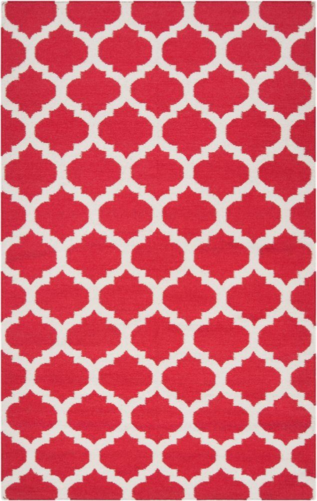 Tapis Saffre rouge en laine 3 Pi. 6 Po. x 5 Pi. 6 Po.