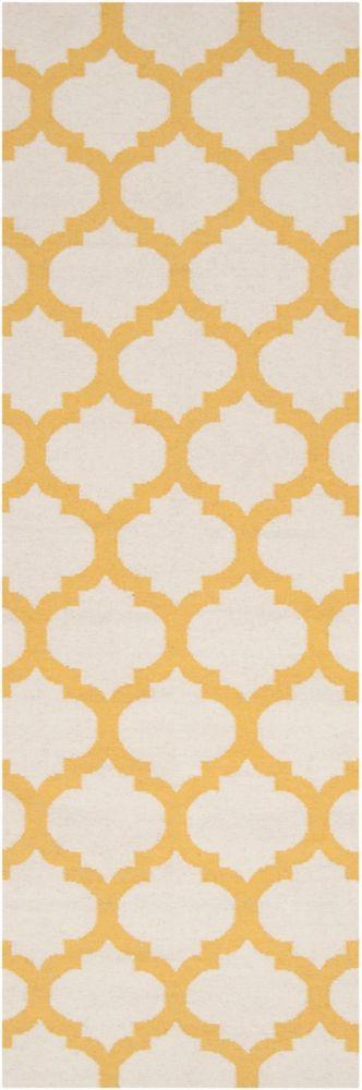 Tapis Saffre ivoire en laine 2 Pi. 6 Po. x 8 Pi.