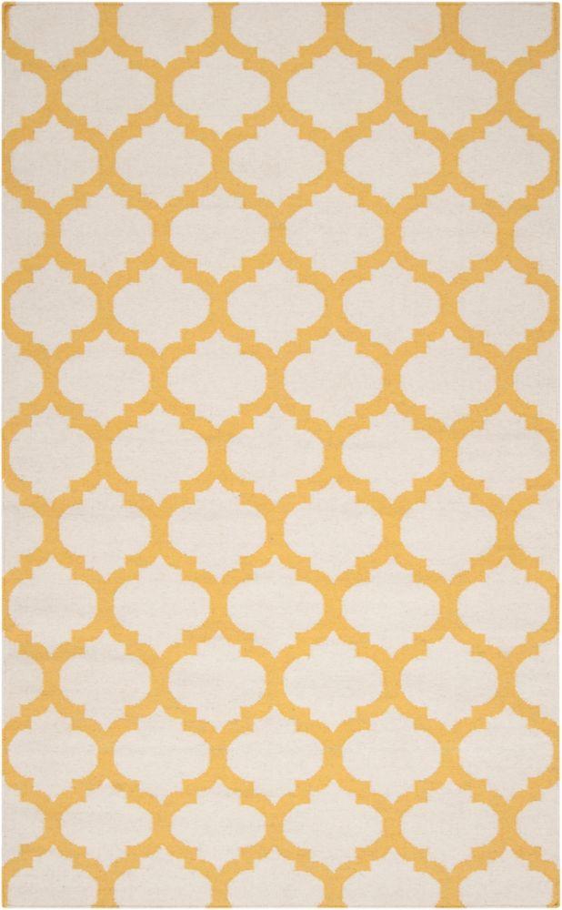 Saffre Ivory Wool 3 Feet 6 Inch x 5 Feet 6 Inch Area Rug