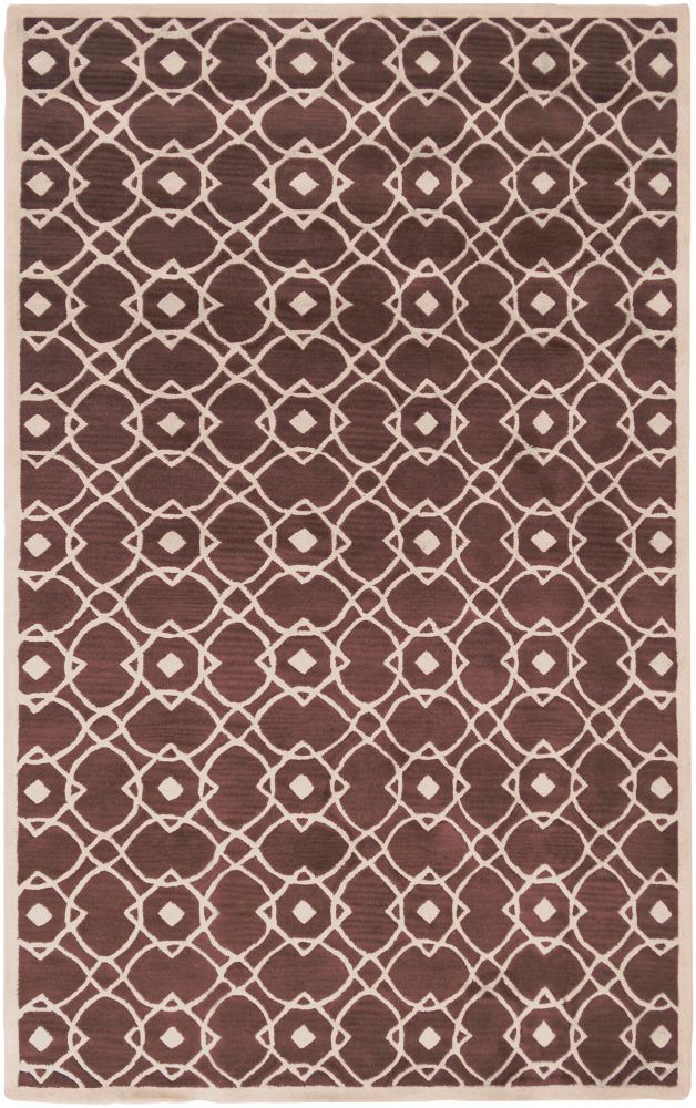 Taintrux Mauve New Zealand Wool  - 3 Ft. 6 In. x 5 Ft. 6 In. Area Rug