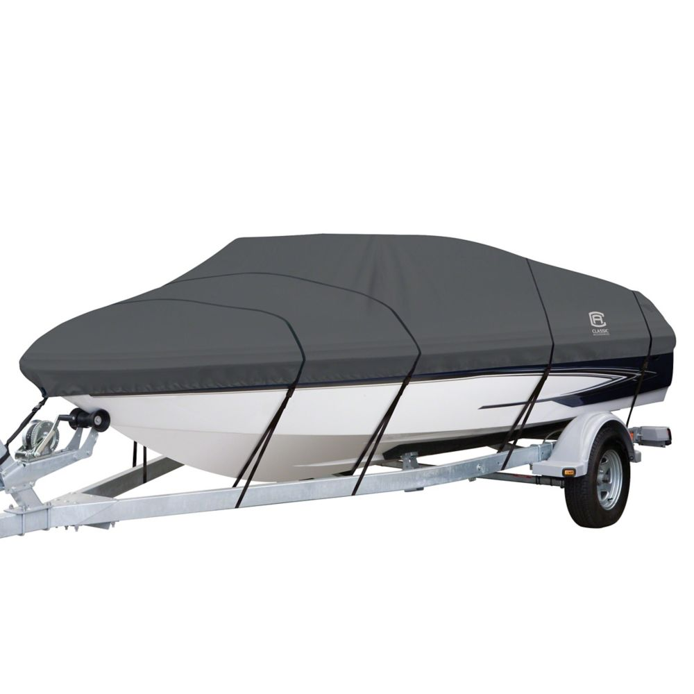 Classic Accessories StormPro Heavy Duty Boat Cover with Support Pole, Fits Boats 20 ft. - 22 ft.L x 106 inchW