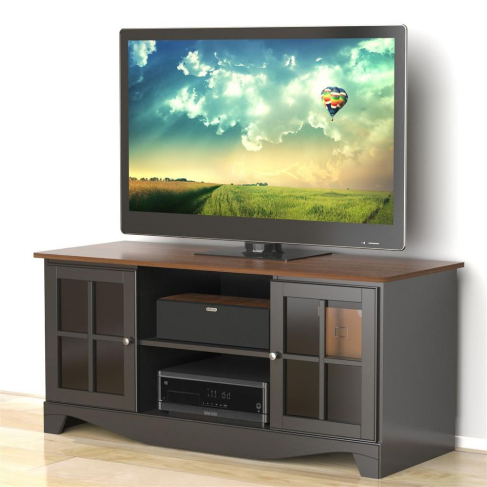 Pinnacle 54 inches HEC TV Stand - Cinnamon-Cherry & Black