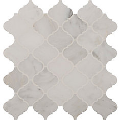 12-Inch x 12-Inch x 10 mm Polished Marble Mosaic Floor/Wall Tile in Grecian White Arabesque