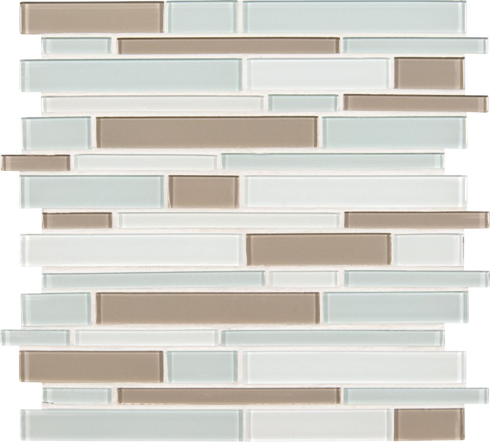 Snowdrift Interlocking 12 in. x 12 in. x 8 mm Glass Mesh-Mounted Mosaic Wall Tile
