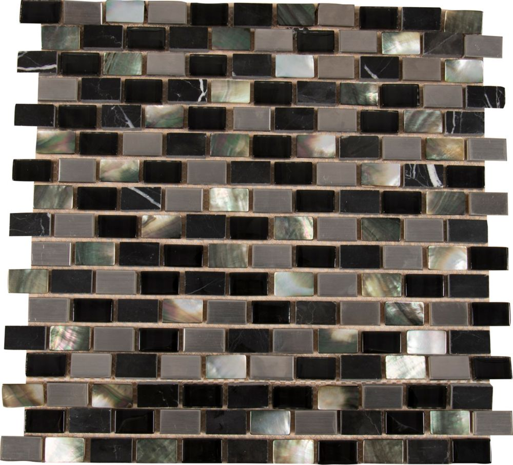 12-inch x 12-inch x 8 mm Glass/Stone/Metal Mesh-Mounted Mosaic Tile in Midnight Pearl
