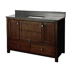 Foremost Yates 49-inch W Vanity Combo in Rustic Finish with Granite Top in Black
