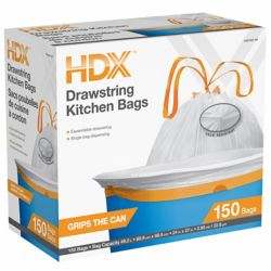 HDX 49.2L Drawstring Kitchen Bags 150ct